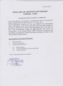 List of the Successful Candidates of the just concluded Supplementary Entrance Exams